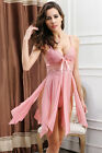 Embroidered Sexy Lingerie Gown High Slit Deep V Babydoll Sleepwear Chemise Dress
