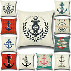 Nautical Anchor Printed Pattern Pillowcase Cushion Cover Home Bed Sofa Car Decor