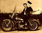 Harley Davidson Motorcycle, Elvis Presley, 1957, Sepia Filter Photo