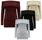 Womens Ladies Off Shoulder Cable Chunky Knit Jumper Dress Bodycon Mini Sweater