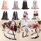 Fashion Women's Soft Thin Floral Pattern Digital Printed Satin Long Shawl Scarf