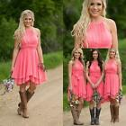 Coral Country Bridesmaid Dresses Jewel Chiffon Party Maid of Honor Gowns HD028