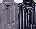 Bugatchi Uomo Shirt Gray or Navy Blue Stripe Long Sleeve Button Front Mens L