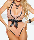 Sexy Lingerie Babydoll Gowns Ribbon Underwear Bodysuit Sheer Lace Teddy Sz S M L