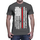 Distressed Red Line American Flag- Firefighter Hero Support Mens T-Shirt