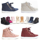 NEW Women's Quilted Fashion High Top Faux Zipper Lace Up Sneakers US Size 5.5-11