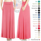 FACA Womens High Waist Shirring Maxi Skirt with Side Pockets (S-XXXXXL)