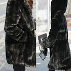Women`s Black Tiered Faux Mink Fur Coat Soft Jacket Attached Hood S