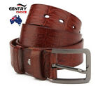 Men's 100% Genuine Leather Top Quality Craft Pattern Casual Fashion Brown Belt