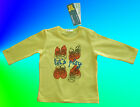 """BENETTON BABY BOYS OR GIRLS YELLOW """"LETS PLAY"""" L/SLEEVED TOP 100% ORGANIC COTTON"""