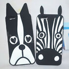 Black Zebra Dog Cartoon Silicone Back Case Cover for iPhone 7 & 7 Plus & 6/6S