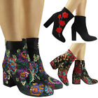 Womens Ladies Faux Suede Floral Flower Velvet High Ankle Boots Celeb Shoes Size