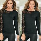 NEW Women Lace Long Sleeve T-Shirt Ladies Crew Neck Casual Stretch Blouse Tops
