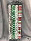 Kirkland Signature Gift Wrapping Paper GRID Christmas 4 Pack PACK VARIETY NEW