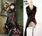Asymmetric Women's Punk Rave Visual Kei Black & Red Gothic Waistcoat Y-330