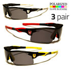 3 PAIR Polarized Mirror Lens Mens Fishing Baseball Sport Wrap Sunglasses BLUE o