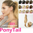 "16""-26""Clip In Wrap Around High Ponytail Human Hair Extension Black Blonde Brown"