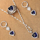 925 Silver Heart Tanzanite Jewelry Set Fashion Women Necklace Earrings Ring Set