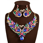 Charm Swan Jewelry Pendant Chain Crystal Choker Statement Bib Necklace Earring