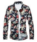 New Famous Fashion Men's High Quality Floral Long Sleeve Big Size Casual Shirts