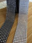 8-Row 4cm Diamante ribbon crystal rhinestone sparkle banding black or silver