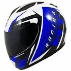 MT Thunder Axe Motorcycle Scooter Full Face Crash Helmet Gloss White Blue New