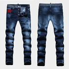 NEW Mens Italy Style Distressed *Scratches Pants Blue Slim JEANS Trousers D1431T