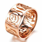 New 14K Rose Gold Stainless Steel Hollow Camellia 10mm Wide Womens Fashion Ring