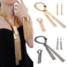 Ladies Long Pendants Gold Chain Statement Necklace Bracelet Earrings Jewelry Set