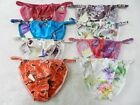 "8pcs Floral 100% Silk Women's String Bikini Panties  S M L XL 2XL (W27""-42"")"