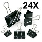 24 X MEDIUM - X LARGE BULLDOG LETTER CLIPS BINDER PAPER FILING METAL BLACK