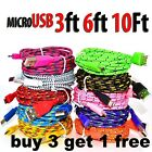 1M/2M/3M Strong Fabric Braided Micro USB Data Sync Charger Cable For Android HTC