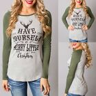 Women O-Neck Patchwork Raglan Long Sleeve Letter Print Slim Fit T-Shirt Tops