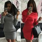 Women Polo Neck Package Hip Long Sleeve Pockets Plain Stretch Bodycon Mini Dress