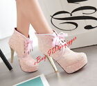 Womens Stylish Bling Bling Platform Lace Up Sequins Party Ankle Boots Stilettos