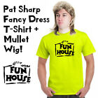 Funny Pat Sharp Fun House Fancy Dress Mullet Wig & T-Shirt 80s 90s Party