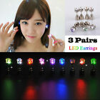 6Pcs Flash Lighting Up Jewelry LED Bling Ear Studs Earrings Club Party Cool Gift