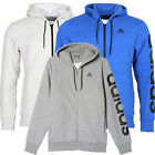 ADIDAS MEN'S SPORTS ESSENTIALS LINEAR FZ HOODY in GREY/WHITE/BLUE-FREE DELIVERY