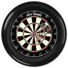Dartboard Clock Darts Pub Games Wall Clock Gift #1 - Can be personalised