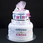 TWINS! 2 tier elephant nappy cake personalised names blankets muslin squares new