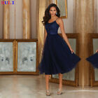 Navy Blue Calf Length Bridesmaid Dress Mother Of The Bride Gowns Plus Size HD154