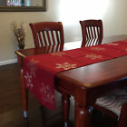 "Embroidered White Snowflake Table Runner Christmas Red Table Cloth 16"" x 70"""