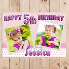 Personalised Girls Polka Dot Happy Birthday PHOTO Poster Banner N115 ANY AGE