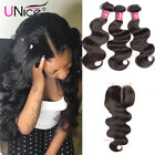 UNice 7A Malaysian Hair 3 Bundles with Closure Body Wave Human Hair Lace Closure