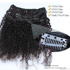 Women  8A Kinky Curly Clip In Human Hair Extensions 7PC/120G Natural Black