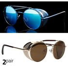 Gold Vintage Retro Steampunk Gothic Side Shield Hipster Round Sunglasses Blue y