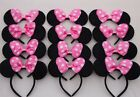 12 PC MICKEY MINNIE MOUSE EARS HEADBANDS BLACK RED/PINK BOW PARTY FAVORS COSTUME фото