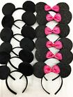 12 PC MICKEY MINNIE MOUSE EARS HEADBANDS BLACK RED/PINK BOW PARTY FAVORS COSTUME