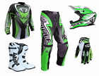 Adult Wulfsport ATTACK Motocross Pant Shirt Glove Helmet Boot Green Set #ATW17