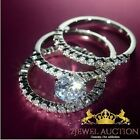 2.5 CT Diamond 3 Pcs 925 Silver White Gold Over Engagement Ring Wedding Band Set